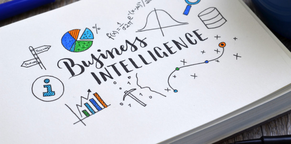 BUSINESS INTELLIGENCE hand-lettered icons on notepad